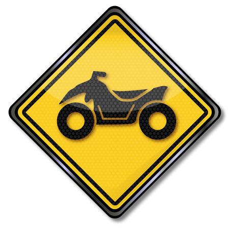 quad: Road sign with a quad Illustration