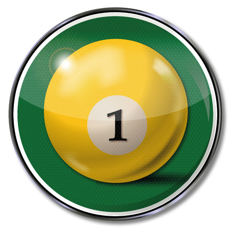 billiard ball: Shield yellow pool billiard ball number 1