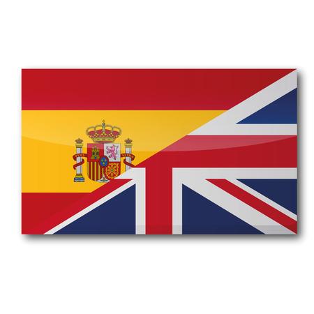 Vlag met een vertaling in het Engels en het Spaans