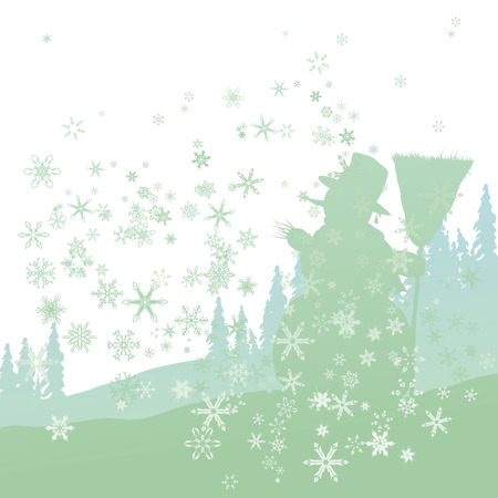 christmas night: Snowman in the forest with snowflakes Illustration
