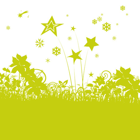 lades of grass with asterisk and little stars Illustration