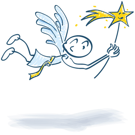 public figure: Stick Figure as a flying angel with a star