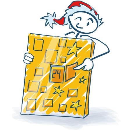 unpacking: Stick figure as Santa Claus and Christmas calendar