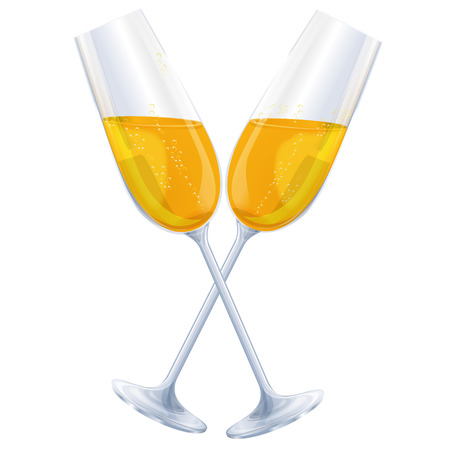 sektglas: Zwei Gläser Champagner und cheers Illustration