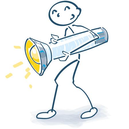 Stick figure with a large flashlight