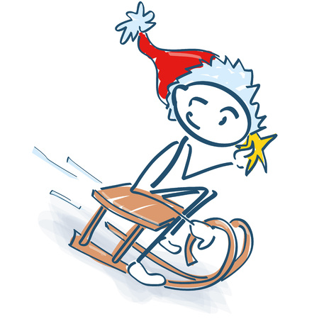 Stick figure as Santa Claus with sleigh