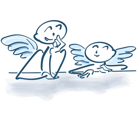 night stick: Two little angels as a stick figures