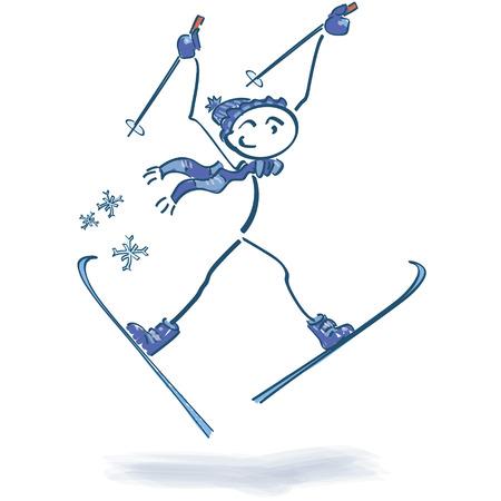figures: Stick figure on skiers