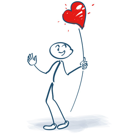 Stick figures with a heart on a stick