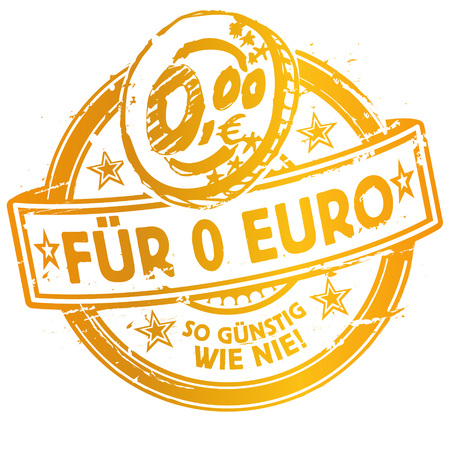 save as: Rubber stamp with for 0 Euro more affordable than ever and coin