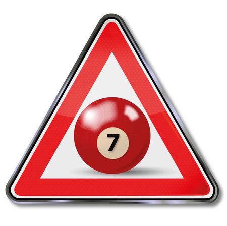billiard ball: Shield red pool billiard ball number 7 Illustration