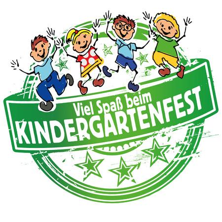 day nursery: Rubber stamp kindergarten festival Illustration