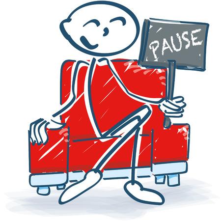 short break: Stick figure with a break in armchair