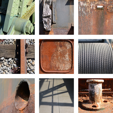 gray matter: Nine rusty iron plates and structures Stock Photo