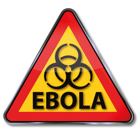 chimpanzees: Warning sign in front of the ebola disease