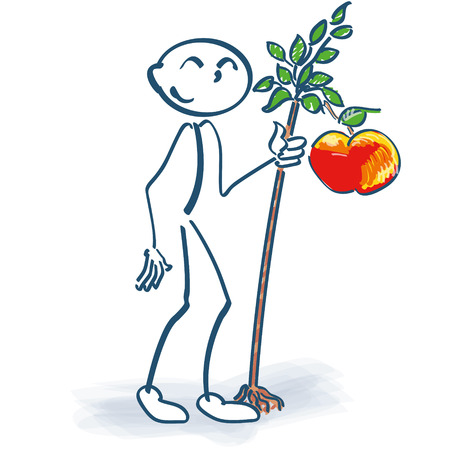 windfalls: Stick figure with a little apple tree