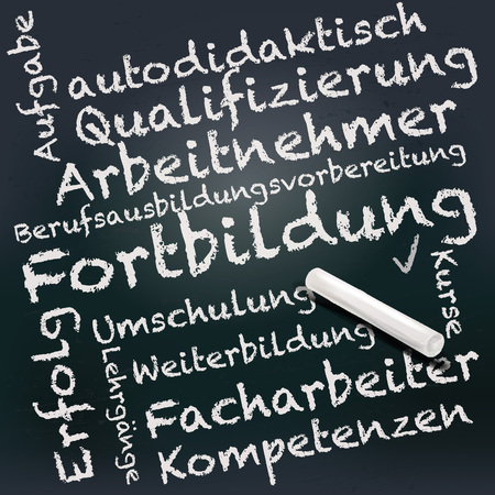 vocational training: Blackboard and chalk with training and further education