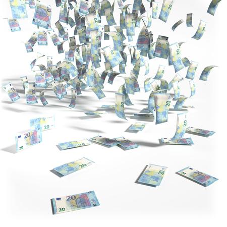 billets euros: L'argent pluie de vingt billets en euros Banque d'images