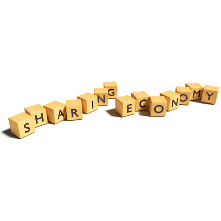 Dice with sharing economy Stock Photo