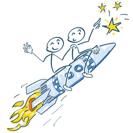 blasting: Stick figure with blasting rocket to the stars Illustration