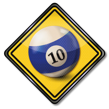 bad luck: Shield blue and white pool billiard ball number 10