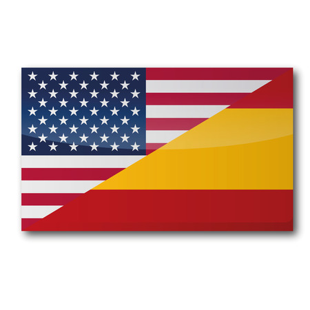 world flag: Flag with translation in american and spanish