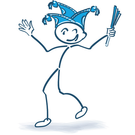 dunce cap: Stick figure celebrating with carnival cap and carnival Illustration