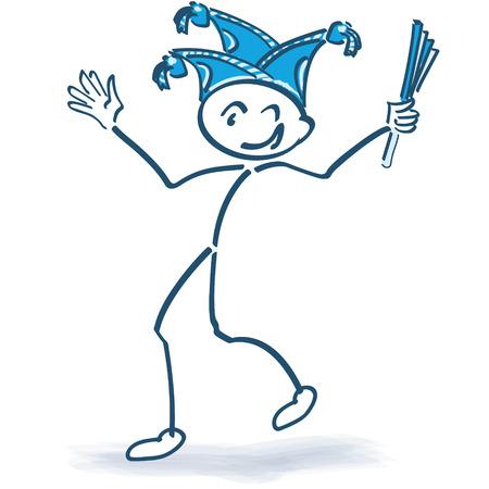 craze: Stick figure celebrating with carnival cap and carnival Illustration