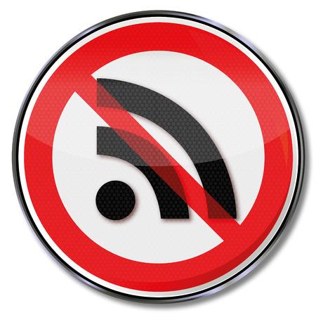 señales de seguridad: Muestra de la prohibición de las redes de radio inalámbricas y seguridad informática Vectores