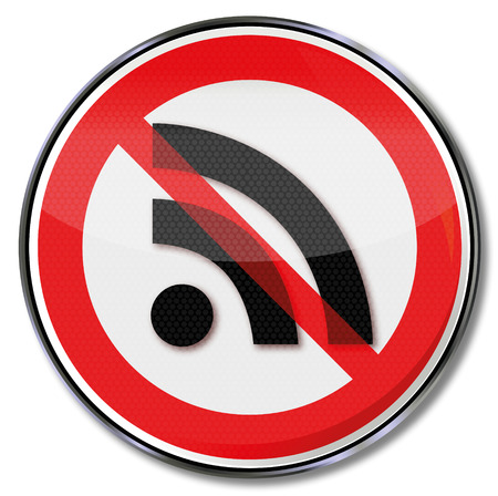 Prohibition sign for wireless radio networks and computer security Illustration