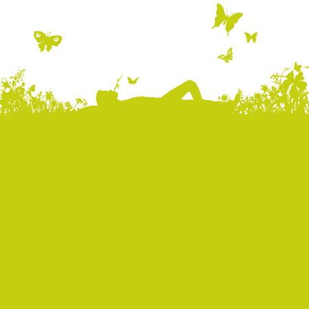 lying in: Lying in the grass Illustration
