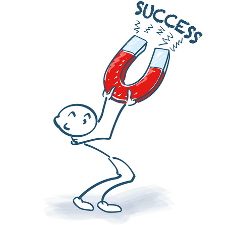 decision: Stick figure with magnet and success Illustration