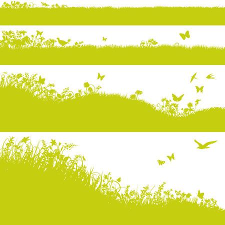 Four meadows, grass and flowers Векторная Иллюстрация
