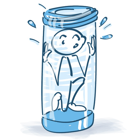 Stick figure sits firmly in the glass and is afraid