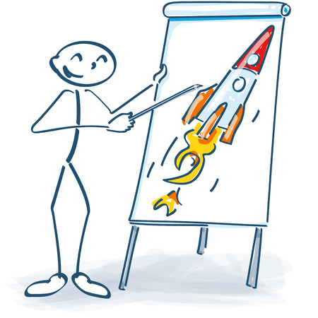 flip chart: Stick figure with a flip chart and rocket