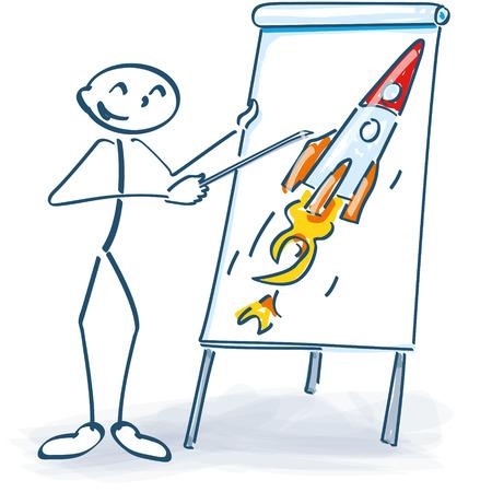 flip chart: Stick figure with a flip chart and rocket