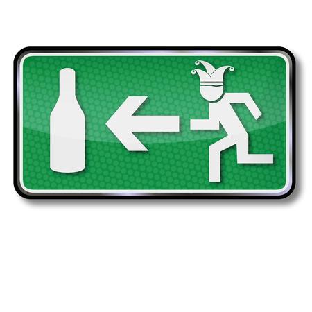 salida de emergencia: Salida de emergencia por gente borracha y Carnaval Vectores