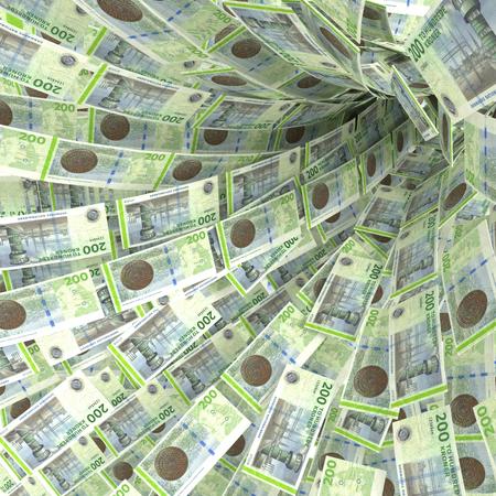debt trap: Money vortex of 200 Danish kroner bills