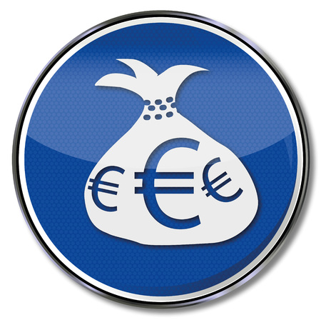 purchasing power: Sign with money bag and Euros