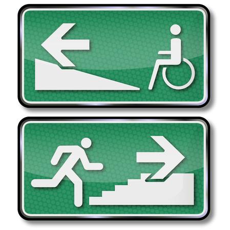 salidas de emergencia: Sillas de ruedas y calle de rodaje en el hueco de la escalera