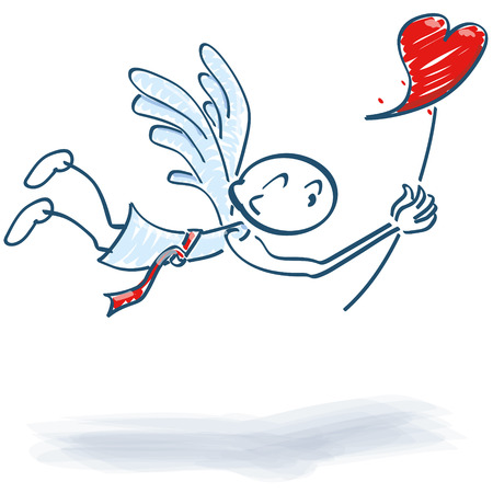 amur: Stick figure as a flying angel with heart on a stick Illustration