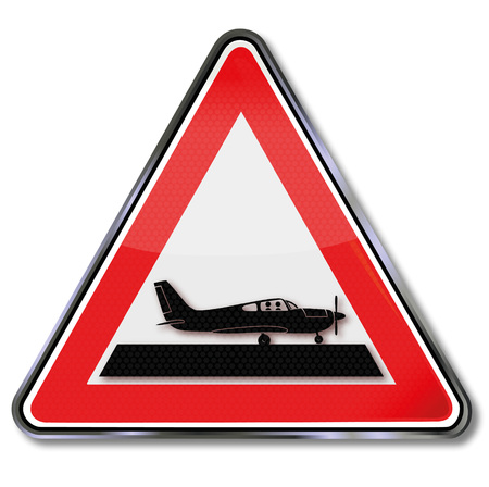 airfield: Sign with a small plane
