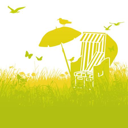 lawn chair: Beach chair in the grass and summer