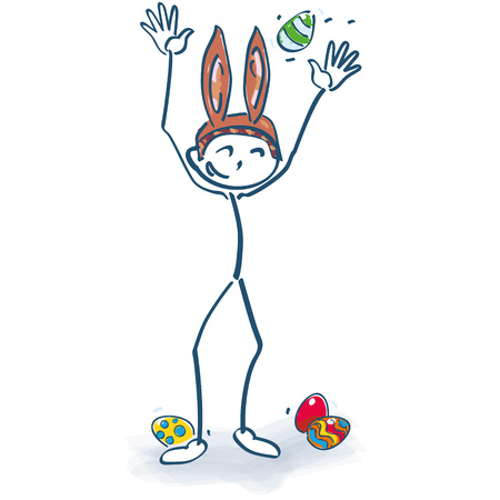 give away: Stick figure as easter bunny and easter hat Illustration