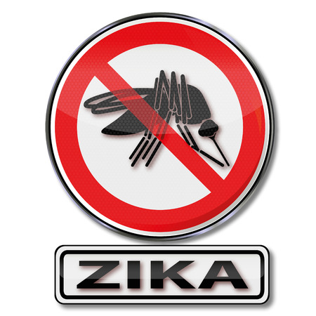 pathogens: Prohibition sign for mosquitos to the zika virus Illustration