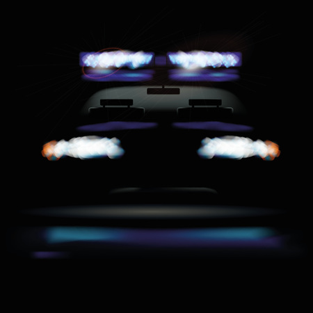 danger zone: Police car at night and warning light