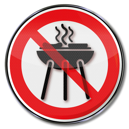 Prohibition sign for a barbecue and grilling