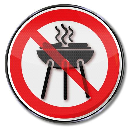 interdiction: Signe d'interdiction pour un barbecue et griller