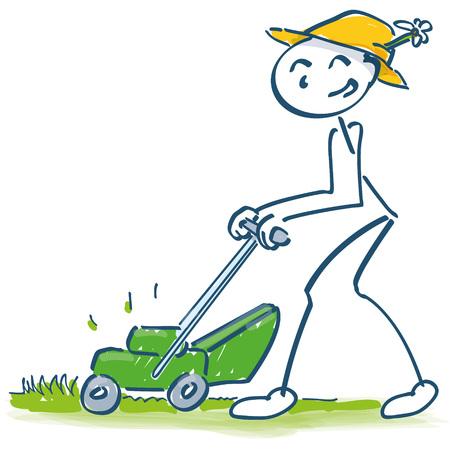 Stick figure mowing the lawn with the mower