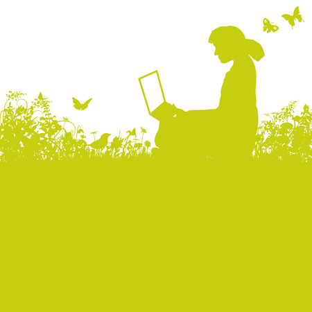 laptop outside: Girl with a laptop in the grass and garden